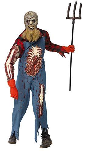 Smiffys Herren Zombie-Hinterwäldler Kostüm, Jumpsuit, Hemd, Maske mit Bart, Handschuhe und Latex Ärmel, Größe: L, 26862