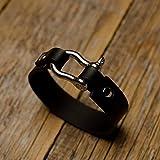 Bracelet en cuir italien, tanné végétal, noir, taille moyenne pour poignet 165-180mm