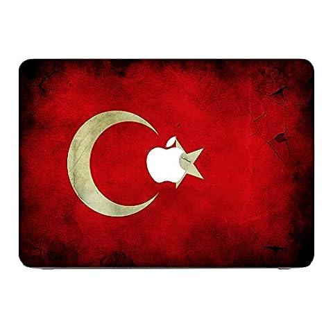 Flagge Türkei 2, Ländern, Skin-Aufkleber Folie Sticker Laptop Vinyl Designfolie Decal mit Ledernachbildung Laminat und Farbig Design für Apple MacBook Pro