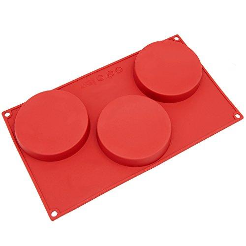 Freshware 3-Cavity Disc Kuchen Silikon Form und Backform, Silikon, rot, S Holiday Loaf Pan