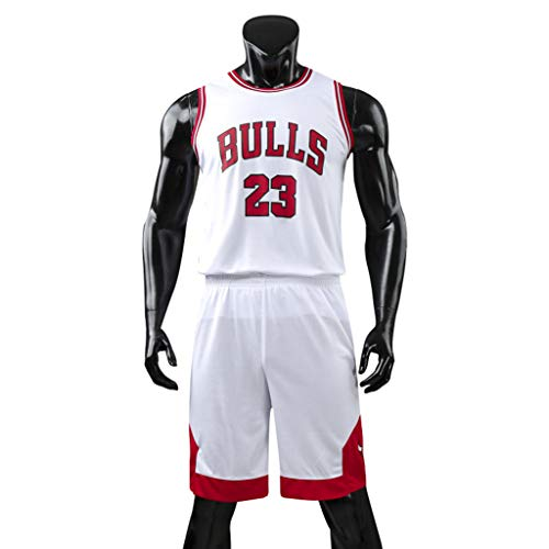 K-Flame Ärmellose Trikots Herren Sommer Rundhals T-Shirts Shorts Sets Herren Basketball Training Leichte Uniform mit Buchstaben 23,White,XXL