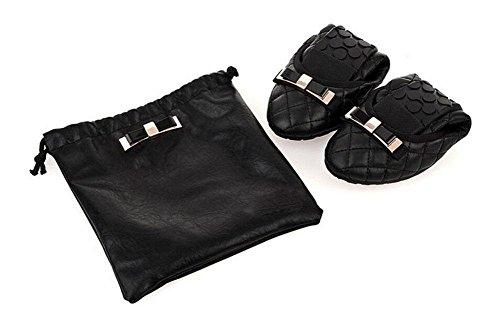 SHINIK Frauen Sommer Faltbare Ballett Schuhe Ei Rolls Frauen 's Single Leder Flache Mund Europa und die Vereinigten Staaten Flat Falten Falten Tanzen Schuhe Black