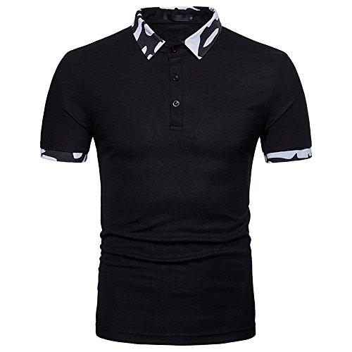 7df29814d550 BURFLY Polo Shirts Herren, Sommer Herren Mode Persönlichkeit Männer Casual  Schlank Kurzarm Patchwork T-Shirt Top Bluse (2XL, Schwarz)