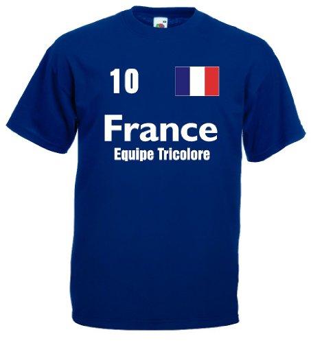 France Equipe Tricolore Herren T-Shirt Trikot royal L (Frankreich Trikot Wm 2014)