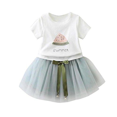HARRYSTORE Kleinkind Kinder Baby Mädchen Outfit Set Wassermelone Druck T-Shirt + Bowknot Dekoration Kurzer Rock (6-7T, Hellblau) Baby Going Home Outfit
