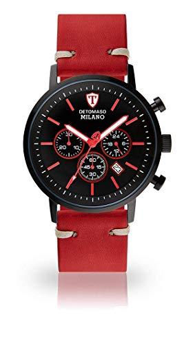 DETOMASO Milano XL Herren-Armbanduhr Chronograph Analog Quarz schwarz rotes Zifferblatt rotes Lederarmband DT1082-B-785
