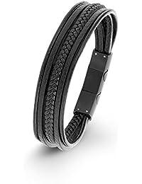 S.Oliver Kinder Armband Jungen Leder mehrreihig Edelstahl 16,5+1,5 cm schwarz