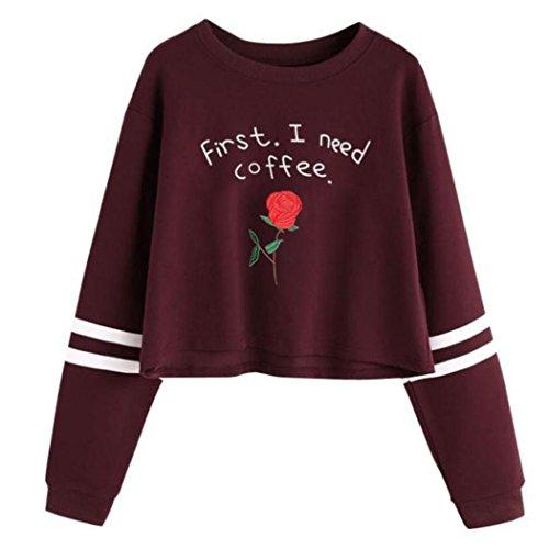 Kostüme Queen Red Sexy (WOCACHI Damen Sommer T-Shirts Frauen Sommer Eine Rose Stickerei Bedruckte Bluse Kurzarm O-Ausschnitt Tops T-Shirt (S/32,)