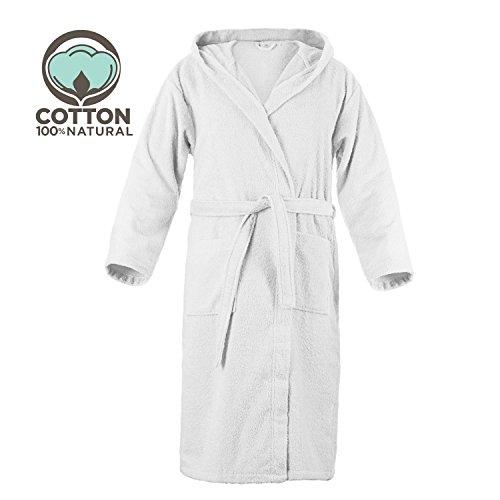 Twinzen Peignoir de Bain 100% Coton avec Capuche pour Homme (M, Blanc Albatre) Certifié OEKO TEX - Robe de Chambre 2 poches, Ceinture et Boucle d'Accroche - Doux, Absorbant et Confortable