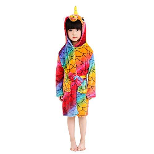 XINNE Unicornio Albornoz Con Capucha Niños Niñas Pijamas De Franela Bata Unisex Bebé Ropa De Dormir Otoño Invierno Camisón Tamaño 100 Escama pez rojo
