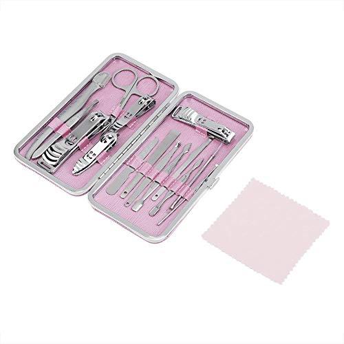 15 kits de manucure pour les ongles, outils en acier inoxydable pour manucure(Rose)