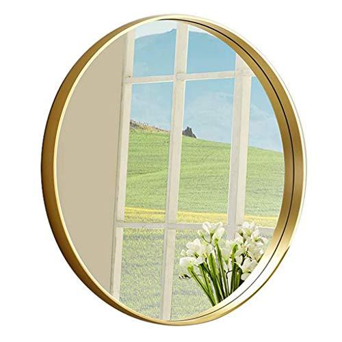 LXYPLM Wandspiegel Spiegel Badezimmer-rundes Make-up wandmontiertes großes Rasier-Eitelkeits-Wohnzimmer-Schlafzimmer-Flur-Spiegel (Color : Gold, Size : 80cm) -