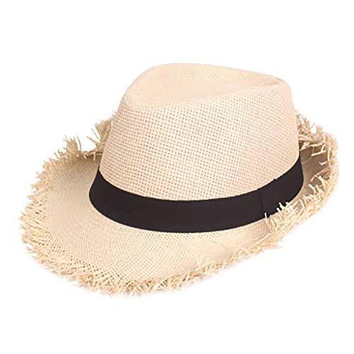 Sumeiwilly Damen Herren Western Sommerhut Panamahut Sonnenhut Strohhut Fedora Hut Handgemacht mit formbarer Krempe und Hutband -