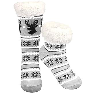 Philonext Sin calcetines antideslizantes, Regalo de Navidad Ciervos de copo de nieve Cálido y acogedor Calcetines bordados de lana con forro polar y altas calcetines de invierno para mujeres(Gris)