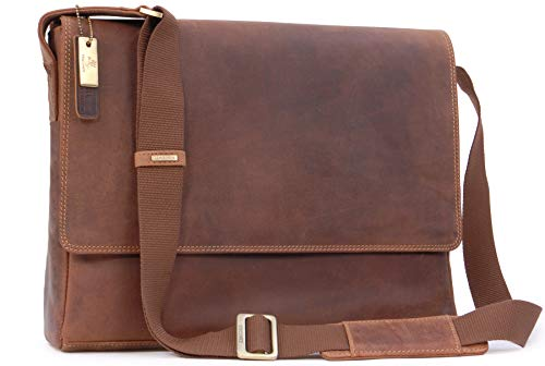 Visconti East/West-Umhängetasche A4/15-Zoll-Laptoptasche - Öl Hellbraun Leder Leder (18516) Größe: B: 36 cm, H: 28 cm, T: 9 cm