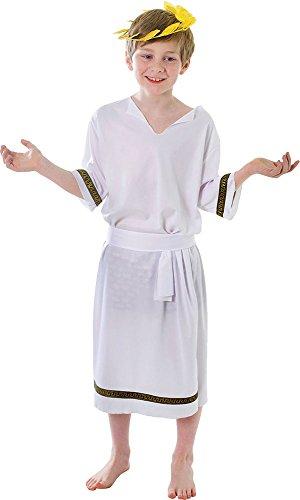 (Kinder römischer Kaiser Julius Toga König Outfit Cäsar Grichischer Jungen Kostüm - Weiß, Medium)