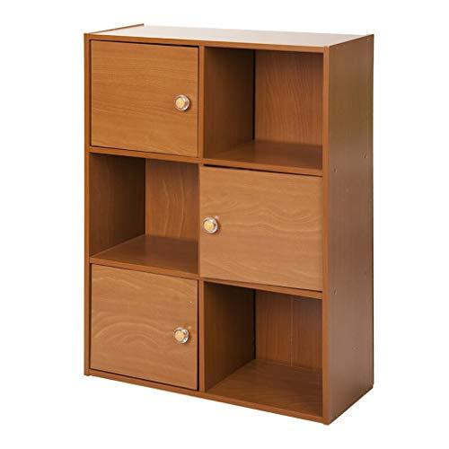 3-Tier 6 Würfel mit 3 Türen und 3 offenen Würfelregalen Bücherregal Bookshef Aufbewahrungseinheit Eichenholz DVD CD Display Rack (Color : Dark Brown) -