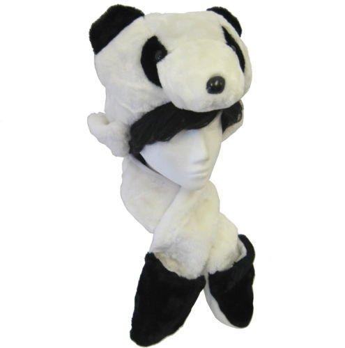 Adultos Niños Unisex Peluche Animal Face Trapper–Gorro/Bufanda/manoplas/guantes Combo Pocket Huellas hai773, panda, talla única