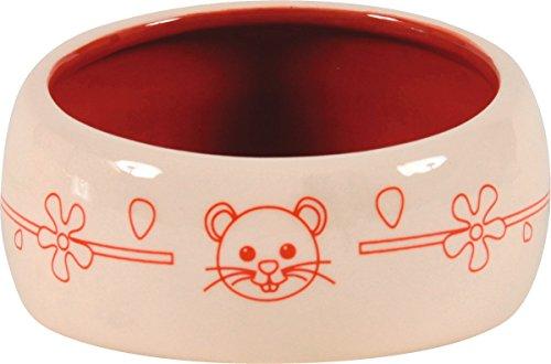 Écuelle céramique petit modèle anti renversement cerise 200 ml diamètre 10 cm pour rongeurs.