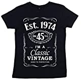 DF, 45th Birthday, Vintage Year, Est. 1974, Femme T-Shirt, Noir, 14 L