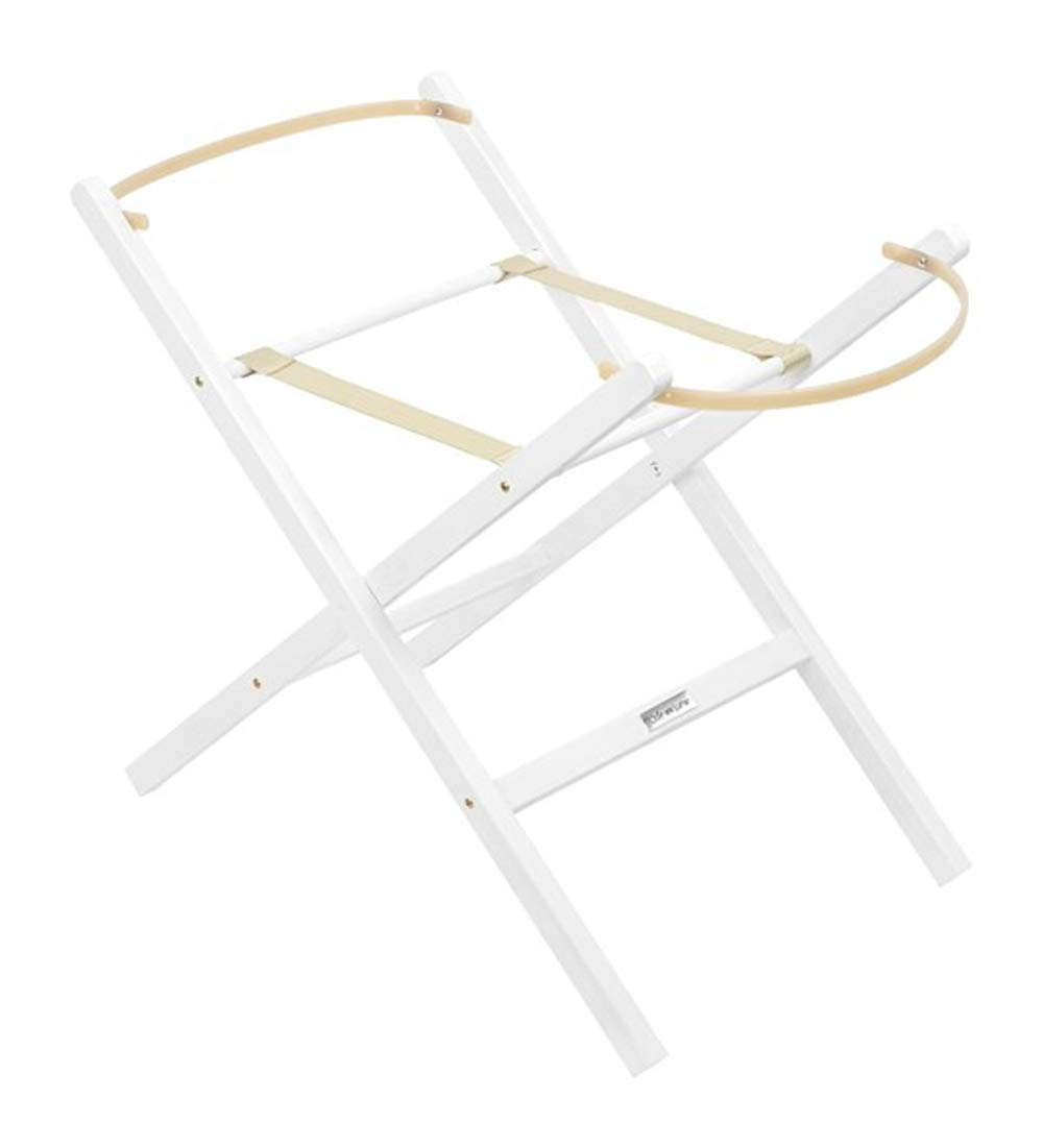 Self Assembly Solid Wooden Pine Folding Moses Basket Stand - White Katies Playpen - Baby Best Buys Your baby will feel safe and secure in their Moses basket while it's placed on our solid pine natural folding stand. The folding stand maintains your baby at eye-level next to a standard be and makes it easier for your to watch over them during the night. Made from natural wood it's super easy to put together and it looks great in any nursery. Wooden retaining bars keep the Moses basket in place, and the stand folds for easy storage/transport when not in use. 1
