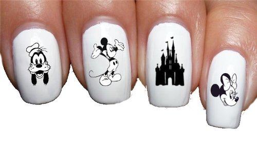Sassy-Nailz Nagelaufkleber, klassisch, Motiv Disney Dingo, Minnie, Mickey, Schloss, für Kinder und ()
