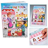 Create your Shopping Tour Malbuch Sticker Läden Geschäfte