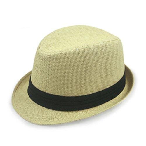 Leisial Panama Chapeau de Paille Anti-soleil Respirant Anti UV Casquettes visières pour été plage loisirs Voyage