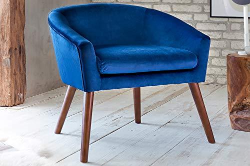 SalesFever Relax-Sessel Elenore Dunkelblau   Stoffbezug in Samt-Optik 68 x 65 x 72 cm   Buche Gestell   Sitz- und Rückenpolsterung