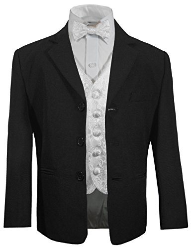 Festlicher Jungen Anzug für Kinder (tailliert) schwarz + weiß barocke Weste mit Fliege 2