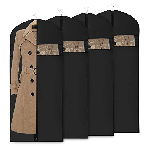 Univivi 152,4 cm Kleidersack Anzugstasche für Aufbewahrung und Reisen, extra lang, waschbarer Kleiderbezug für Kleider, Anzüge, Mäntel, 3 Stück, Schwarz, Oxford Fabric 54inch Set of 4 - 54 In Pullover