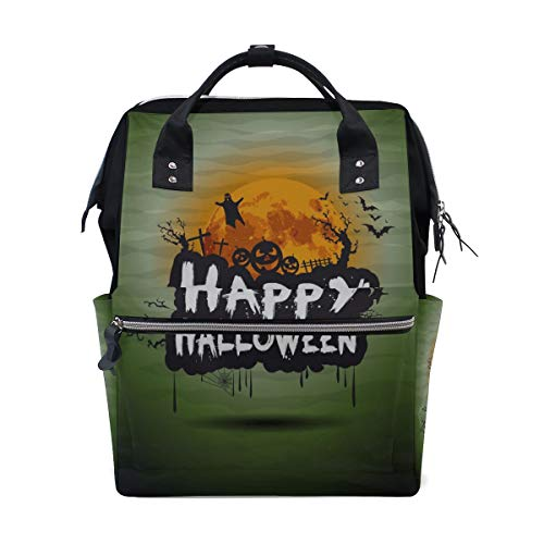 Happy Halloween Fancy Party Große Kapazität Windel Taschen Mummy Rucksack Multi Funktionen Wickeltasche Tasche Handtasche Für Kinder Babypflege Reise Täglichen Frauen (Dies Ist Halloween Girl Cover)