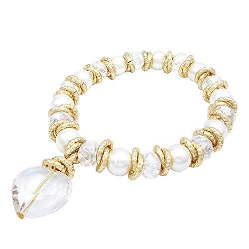 Particolarmoda bracciale elastico stretch donna in alluminio cristalli e perle majorca con cuore colore dorato