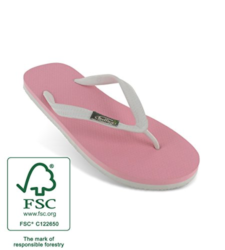 Tongs Feelfinez Jaipur, rose - blanc, thongs caoutchouc naturel rose – blanc