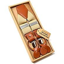 0feb8b040c693 Oxford Collection Bretelles vintage beige entièrement réglables - 3 clips  ou 6 boutons (amovible)