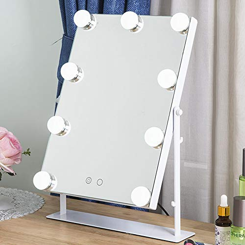 XSGDMN Makeup Mirror, Hollywood Lighted Vanity Makeup Mirror mit Bright LED Lights 2 Color Modes und 9 Dimmable Bulbs für Zuhause,White - Table-top-eitelkeit Spiegel