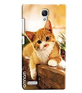 Omnam Beautiful Cat Lying On Table Printed Designer Back Cover Case For Xiaomi Redmi Note