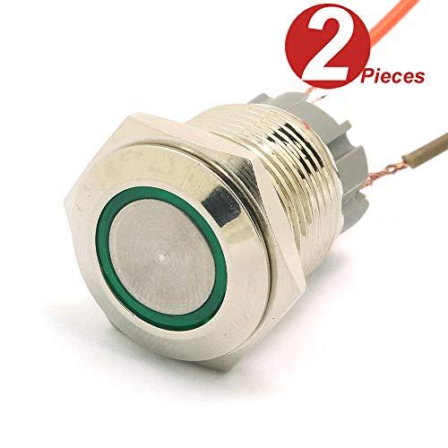 DollaTek 2Pcs 16mm 10A interrupteur momentané interrupteur à bouton-poussoir 12V dc oeil angulaire LED interrupteur rond en acier inoxydable étanche à l'eau - Vert