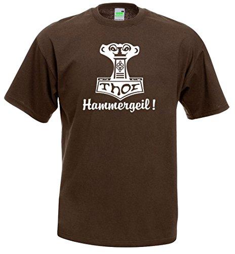 Hammergeil T-Shirt | Mjölnir | Germanen | Wikinger | Thor Donnergott | Premiumshirt von Bimaxx® Braun