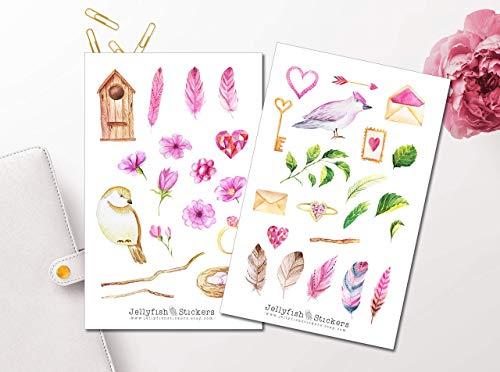 Pinker Frühling Sticker Set | Florale Aufkleber | Journal Sticker | Blumen Sticker | Planersticker | Sticker Vögel, Natur, Garten -
