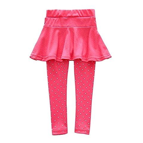 ROPALIA Bébé Fille Legging Jupe Pantalon Jupe Jambieres Enfant en laine 1-7 ans (110, Rose Rouge )