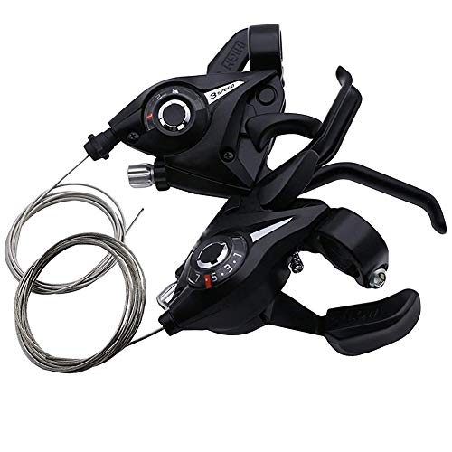 Nicetruc Fahrrad-Gang-Schaltung Bremshebel Schalthebel Set mit Bremszug 3x7 Umwerfer Groupset Trigger-Gang-Schaltung Schwarz EIN Paar -