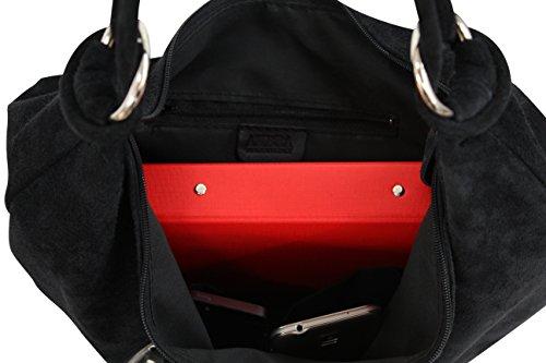 AMBRA Moda Damen Wildleder Schultertasch Damen Handtasche Hobo-Bags Shopper Beuteltaschen Veloursleder Suede Ledertasche DIN-A4 42cm x 35cmx 4cm WL803 Anthrazit groß