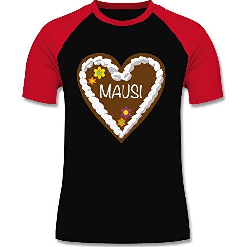 Romantisch - Lebkuchenherz Mausi - zweifarbiges Baseballshirt für Männer Schwarz/Rot
