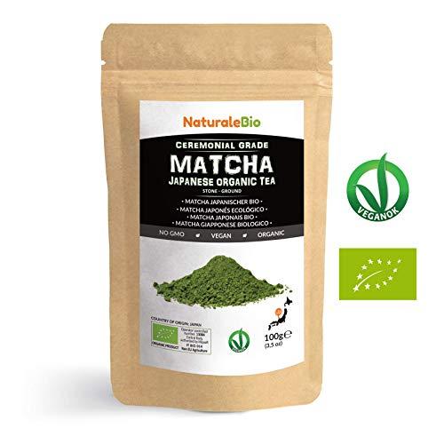 Matcha-Tee-Pulver-Bio [ Ceremonial Grade ] Original Green Tea aus Japan. Grüntee-Pulver Matcha Zeremonie-Qualität, hergestellt in Uji, Kyoto. Ideal zum Trinken, Kochen und in der Latte. 100g Dose.