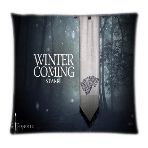 UK-Jewelry personnalisées Winter is Coming personnalisés DIY Plaid Moelleux Coque Deux côté Taie d'oreiller de Protection arrière 45,7 x 45,7 cm