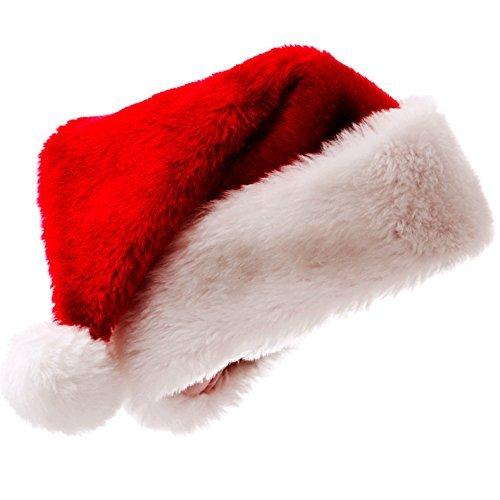 Meiwash Weihnachtsmütze Nikolausmütze Luxus Plüsch Hut Kind Erwachsene Hut Weihnachten Familie Party Supplies (Erwachsene, 1 Stück)
