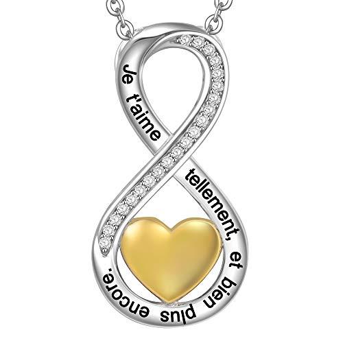 LOVORDS Collier Femme Gravé en Argent 925/1000 Pendentif Infini et Cœur Cadeau Amoureux Romantique pour Ell