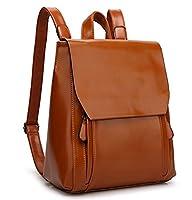 YAAGLE Vintage Waterproof Oil Leather Travel Shoulder Bag School Backpack for Girls Women
