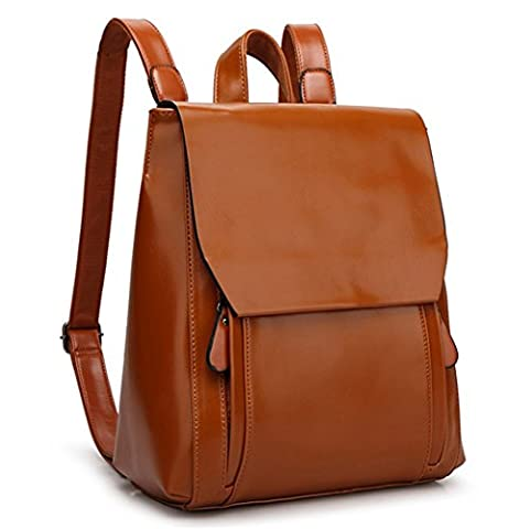 YAAGLE Vintage Waterproof Oil Leather Travel Shoulder Bag School Backpack for Girls Women